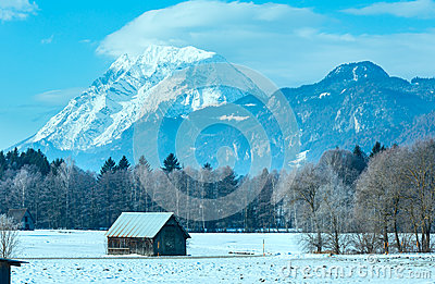 Winter mountain country landscape (Austria).