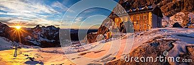 Winter mountain hut