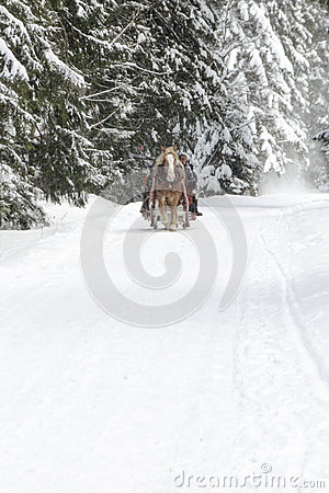 Free Winter Mountain Landscape With Falling Snow Stock Photo - 59017580