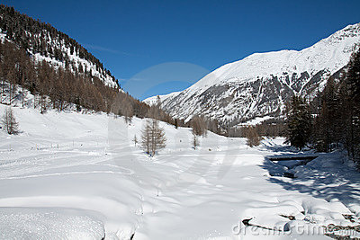 Winter Mountain Panorama on Alps