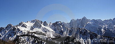 Winter mountain peaks panorama