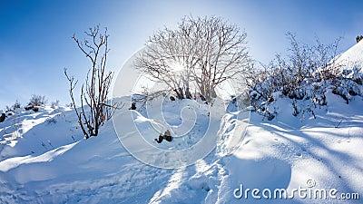 Winter mountain scenery timelapse stock video footage