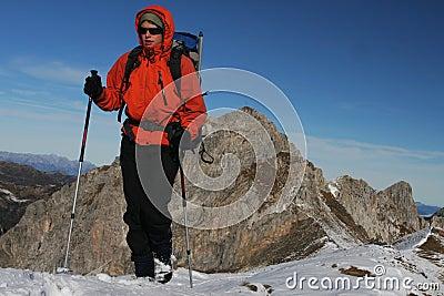 Winter mountain trekking