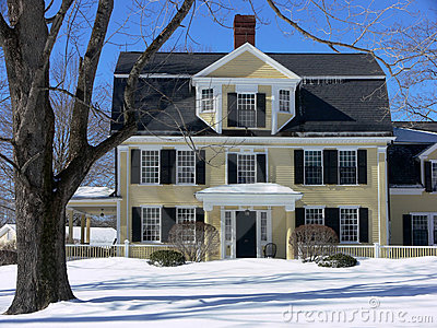 Winter: New England house in snow