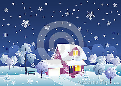 Winter night house