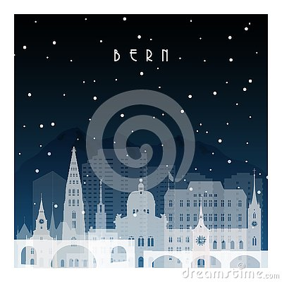 Free Winter Night In Bern. Royalty Free Stock Images - 128424629