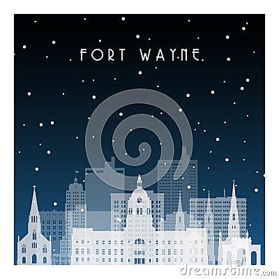 Free Winter Night In Fort Wayne. Royalty Free Stock Image - 132366476