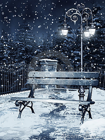 Winter night in a park