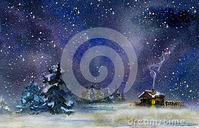 Winter night Cartoon Illustration