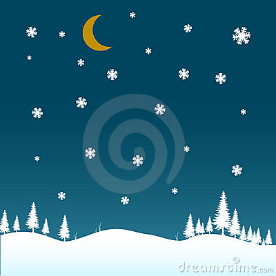Winter night scenario with snow