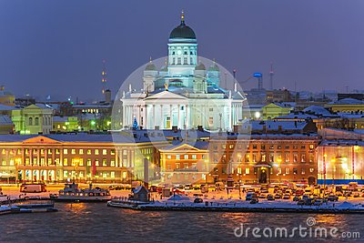 Winter night scenery of Helsinki, Finland