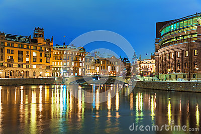 Winter night scenery of Stockholm, Sweden