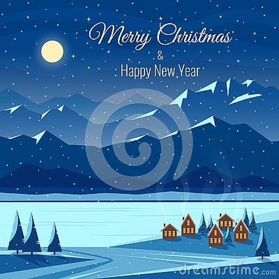 Winter night snow landscape with moon, mountains. Christmas and new year celebration. Greeting card with text.. Cartoon Illustration