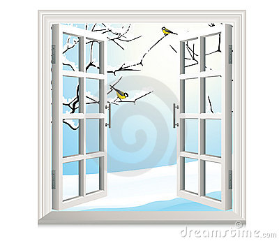 Winter open window