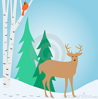 Winter Outdoor Deer Scene/eps