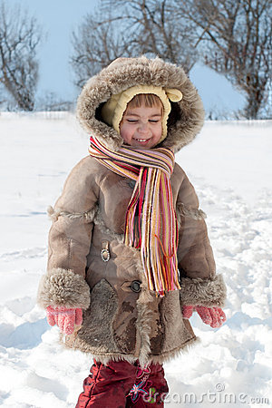 Free Winter Outdoors Little Girl Portrait Stock Photography - 19547612