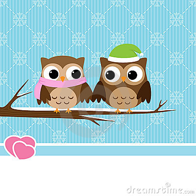 Winter owl couple
