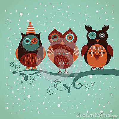 Free Winter Owls Royalty Free Stock Images - 27564949