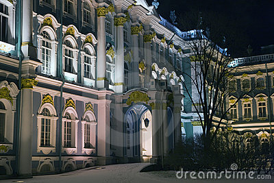 Winter Palace facade in winter night