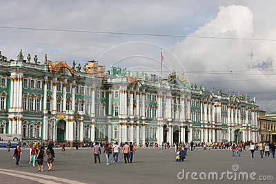Winter Palace and Palace Square in St-Petersburg Editorial Stock Image