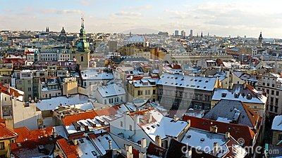 Winter panorama of Prague