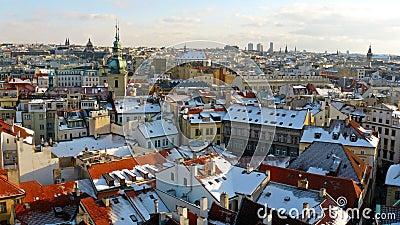 Winter panorama of Prague