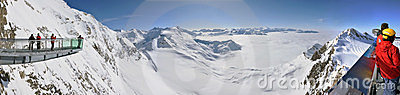Winter panorama with skiers Editorial Stock Image