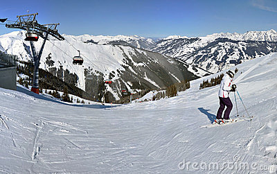 Winter panorama with skiers Editorial Image
