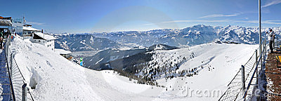 Winter panorama with skiers Editorial Stock Photo