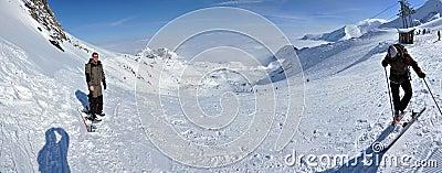 Winter panorama with skiers Editorial Stock Photo
