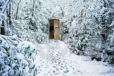 Winter path through forest with secret door