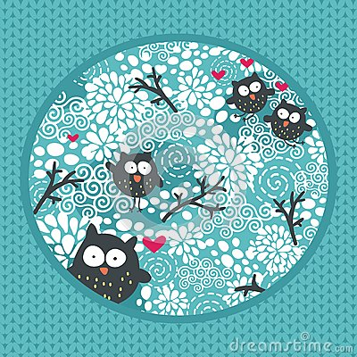 Winter pattern with owls and snow.