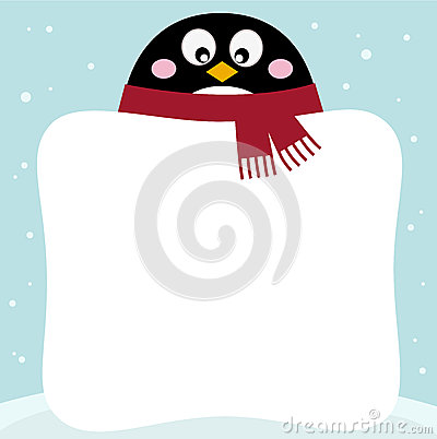 Winter penguin with blank