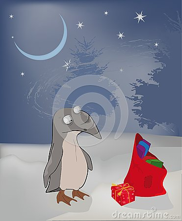 Winter a penguin and Christmas gifts