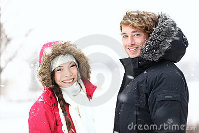 Winter people: young couple
