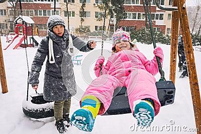 Winter playground fun