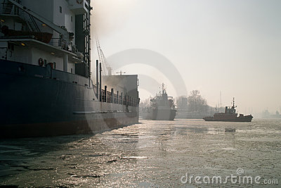 Winter in the port of Gdansk.