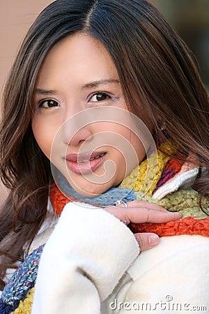 Winter: Portrait of Asian Girl in White Coat