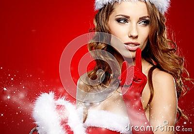 Winter portrait of a christmas  woman
