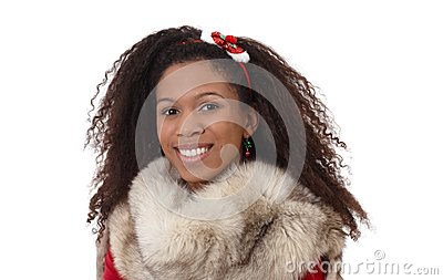 Winter portrait of ethnic girl with fur