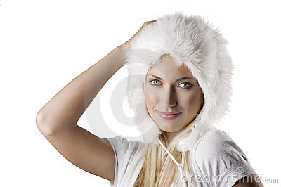 Winter portrait with fur hat