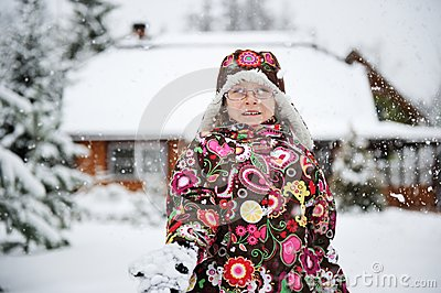 Winter portrait of playful child girl