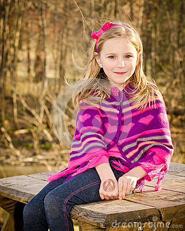 Winter portrait of pretty young girl