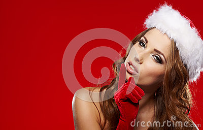 Winter portrait of a santa woman
