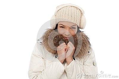 Winter portrait of smiling woman