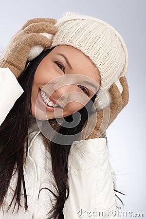 Winter portrait of smiling woman