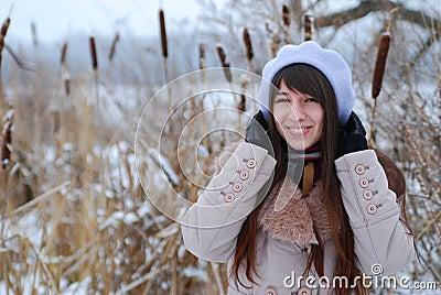 Winter portraits beautiful girl