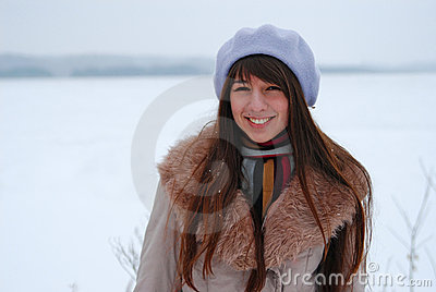 Winter portraits beautiful girl