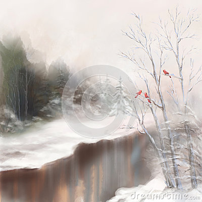 Free Winter River Birds Watercolor Landscape In Mist Stock Photos - 34314513