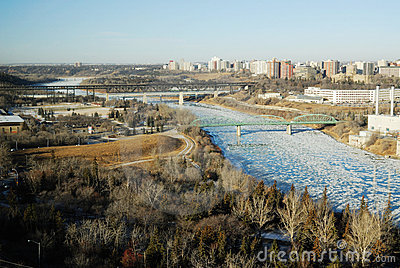 Winter river valley view in edmonton
